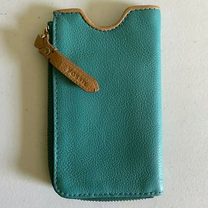 Fossil Teal Leather Cell Phone Case/Wallet, EUC